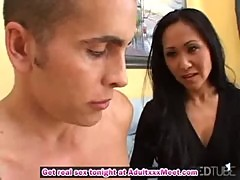 Jizz on Asian MILF pussy