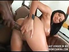 Sexy Busty Brunette Babe Has Fun With His Big Black Long Dong