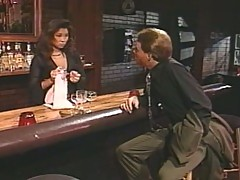 Old school porn action in bar with asian babe!