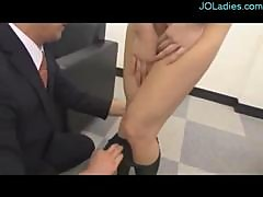 Office Lady In Pantyhose Getting Her Pussy Rubbed And Fingered On The Couch In The Office
