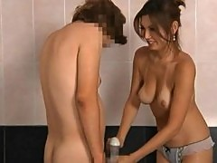 Hot Handjob In the Bathroom by Sexy Japanese