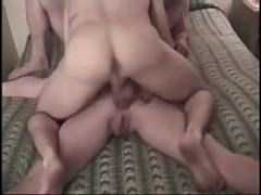 Alley Cat bed threesome at Just Creampie