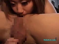 Busty Asian Girl Sucking Guy Rimming Jerking His Cock On The Floor In The Roo