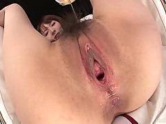 Furry Ramu looks lovely with her trimmed puss spread wide and gaped by a vibrator