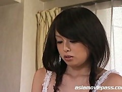 Gorgeous japanese teen oils herself up and calls a cock to action.