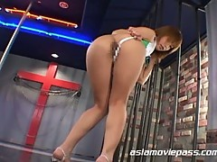 Innocent japanese teen gets double cock ramming