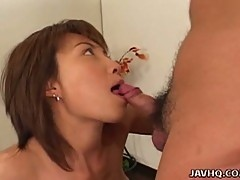 Busty miri sugihara eatsw his cock and gets nailed