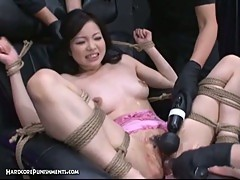 Tied up japanese teen toyed rough in trimmed pussy