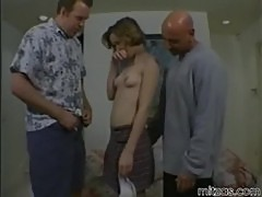 Two guys taking turns on tight pale cunt