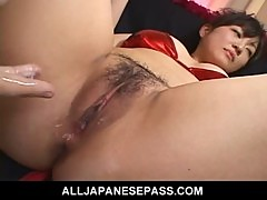 Yukina Ishikawas trimmed pussy is filled with vibrators until she cums