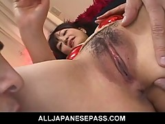 Yukina Ishikawas trimmed pussy is filled with vibrators unti
