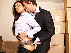 Sexy Asian babe secretary fucks employee's big hard dick in office