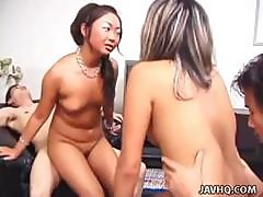 Horny Asian Guy Gets Lucky With Two Slutty Oriental Bitches