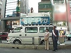 Lusty Japanese Reporter Is Getting A Public Fucking On Top Of The Van