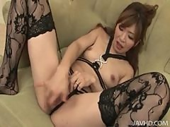 Sexy patterned stockings on a Japanese girl