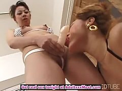 Slutty Japanese MILFs getting off