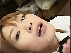 Cute Japanese Babe With Pigtails Sucks On A Cock And Swallows