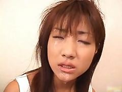 Super Hot Asian Babe Slurping Cum Off Part5