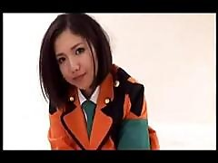 Sexy Young Asian Cutie In Orange Uniform Poses And Munches His Cock
