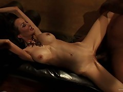 Ange Venus getting pinned down on couch by black dude