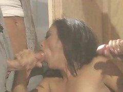 Slutty asian Kaylani Lei eating up two huge hunks of man meat.