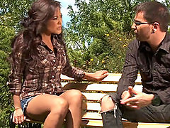 Tight asian babe Kaylani Lei fucks in a public park.