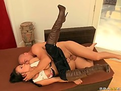 Mya Luanna nailed hard by horny guy on couch