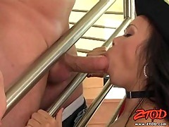 On the stairs sexy Mya Luanna opens for thick shaft in mouth