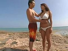 Japanese Girl With Huge Boobs Fucked On Beach