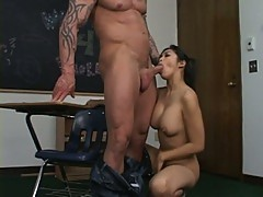 Alluring big tits asian whore strips to serve huge cock in school