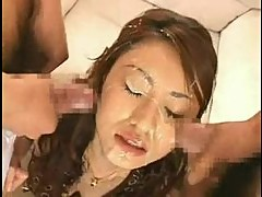Pretty Japanese girl in multiple bukkake scenes
