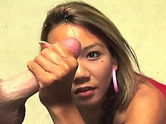 Cute oriental hotty playing with Rod