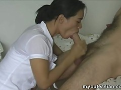 Sweet asian wife gets banged and blows him