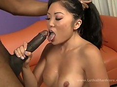 Asian chick craves for chocolate schlong