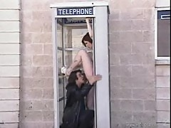 Cute brunette spice phonebooth sex