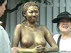 Green Japanese Garden Statue Has Tits Felt Up