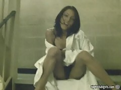 Homemade asian college amateur flashing in hotel hallways