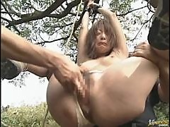 Kinky Asian MILF Akane Mochida Gets Tied Up and Gangbanged Outdoors